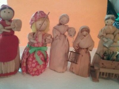 Five Vintage Corn Husk  Dolls