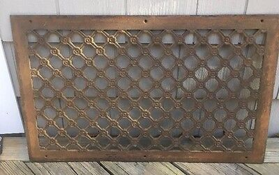 "Vtg Antique Cast Iron Cold Air Return Heat Grate Wall  Vent 16 1/4"" X 26 1/4"""
