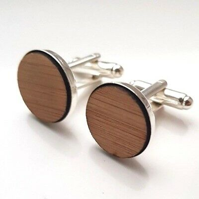 Woodland Fox Cufflinks Mahogany Wood Silver Plated Gift Boxed