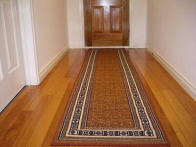 Hall Runner Rug Carpet Brown Patterned Modern Designer 400cm Long FREE DELIVERY