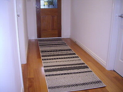 Hall Runner Rug Patterned Designer Grey Black Premium Quality FREE DELIVERY
