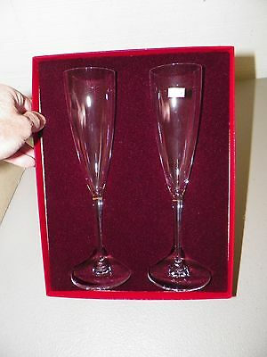 Baccarat Clear Crystal Pair (2) Of Champagne Flutes With Original Box 9 1/4""