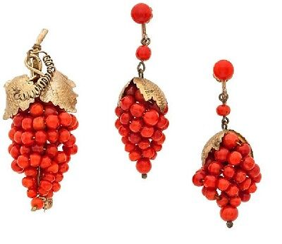 Antique Coral Earrings and Brooch, Gold-Plated Sterling Silver Jewelry Suite