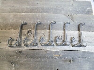 5 Cast Iron School Style Coat Hooks Hat Hook Rack Hall Tree Harness Restoration