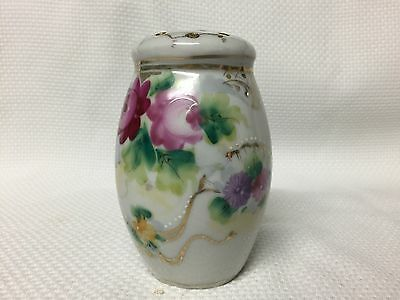 Vintage Hand Painted Roses Porcelain Small Sugar Shaker EUC