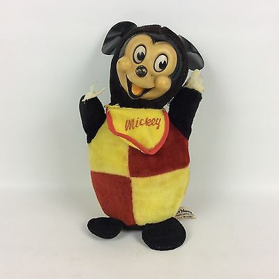 Vtg Mickey Mouse Plush Baby Toy Bell Rattle Rubber Face Walt Disney Productions