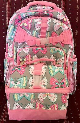 NEW POTTERY BARN Kids Pink & Gray Butterfly Retro Lunch Box BELLE Mono