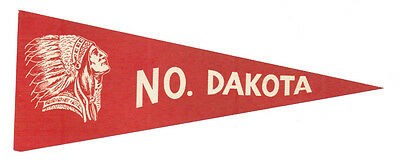 Vintage 1940 North Dakota Luggage Suitcase Paper Decal Pennant Headdress Sticker