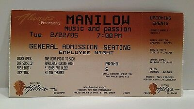 Barry Manilow Ticket Stub Music & Passion Las Vegas Hilton 2005 Employee Night