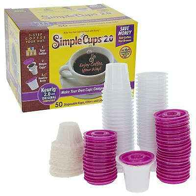 Disposable Cups for Use in Keurig 2.0 Brewers - Simple Cups 2.0 - 50 Cups Lid...