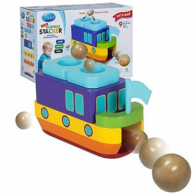 """Wooden Toy Boat Stacker - """"SS Ahoy"""" - Build then Drop the Ball and Guess Wher..."""