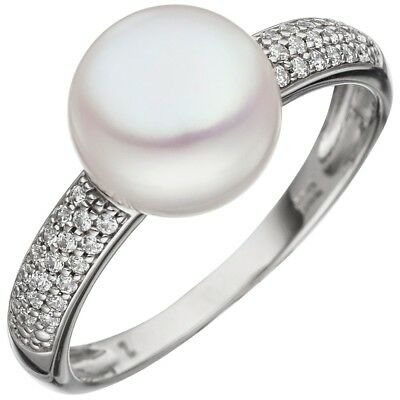 Ladies Ring with Freshwater Pearls & Zirconia 333 Gold White