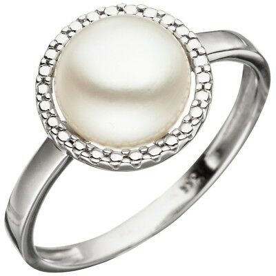 Ladies Ring with Freshwater Pearls 333 Gold White Finger jewellery