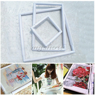 Embroidery Holder Plastic Hoops Frames Cross Stitch Needle Craft Stand White
