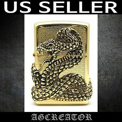New Japan Korea zippo lighter snake gold plated emblem US SELLER