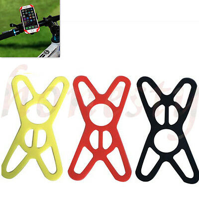 2X Universal Motorcycle Bicycle Bike Handlebar Mount Silicon Band For Cell Phone