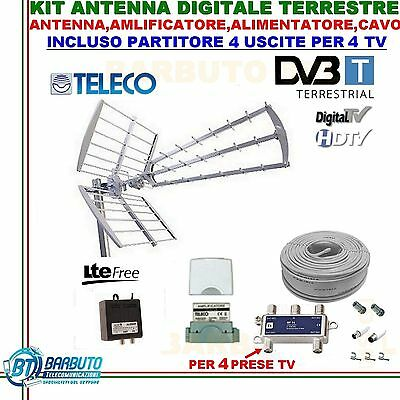 Kit Antenna Tv Digitale Terrestre Per 4 Prese Tv Per Villetta O Casa Singola