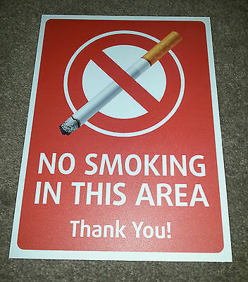 No Smoking In This Area Sign A4 Health And Safety Sign Vinyl Sticker Waterproof