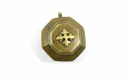 Beautiful Vintage Indian Hand Crafted Small Brass Snuff Box. G7-622