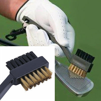 Black Dual Bristles Golf Club Groove Ball Cleaning Brush Cleaner&Snap Clip I6