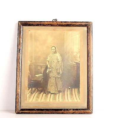 Vintage Original Photograph Sepia Tone Lady Standing Near A Chair Framed 6020R1