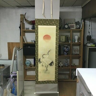 JAPANESE HANGING SCROLL - Beautiful crane 鶴 JAPAN Kakejuku