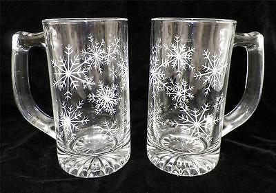 Pair Heavy Glass Etched Snowflake Christmas Winter Beer Steins Mugs