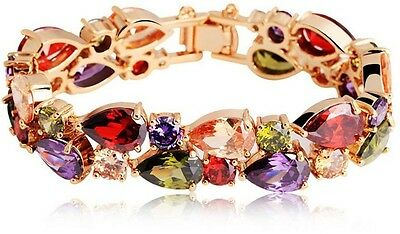 Swarovski Elements women's Unique Luxurious colorful bangle Crystal gold Plated
