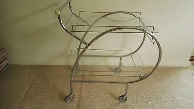 vintage / art deco retro drinks trolley  MID CENTURY metal and glass