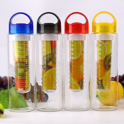 800ML Fruit Fuzer Infusion Infusing Infuser Water Bottle Sports Health 3 Colors