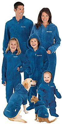 Blue Fleece Onsie Matching Pajamas for the Whole Family, Mens Large