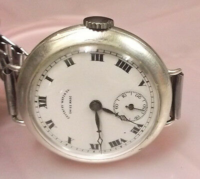 Vintage Rare Coventry Watch Co 925 Silver   Wrist Watch Swiss Porcelain  Dial