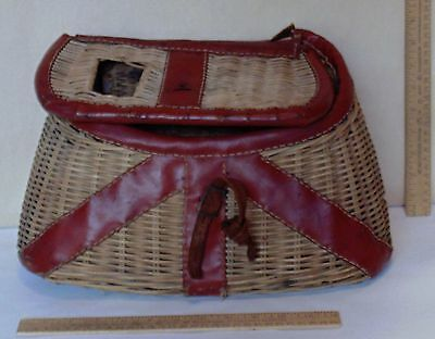 FISHING CREEL - Basket with leather trim - marked BCB Creel - DAMAGED - As Is 2