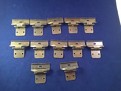 "Lot Of 12 Vintage Metal Brass Look Hinges Cabinet 1"" Center Distressed"
