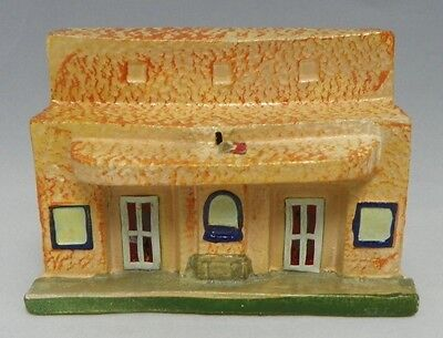 Vintage Paper Mache Train Village School Japan  Cellophane Windows