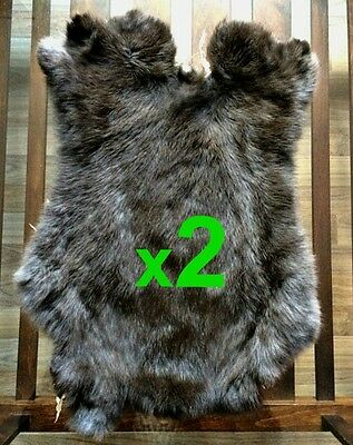 2 x BROWN Rabbit Skin Fur Pelt Tanned for; dummy, animal training, crafts, LARP