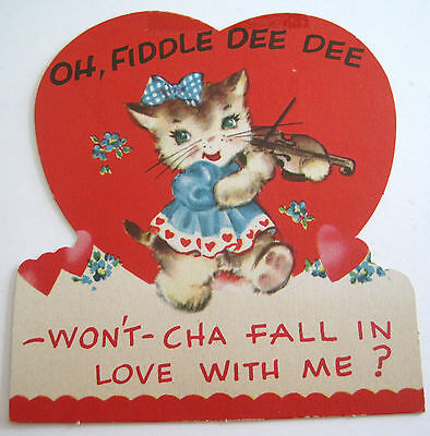 Used Vtg Valentine Card Cute Kitten Playing Violin Fiddle Oh, Fiddle Dee Dee