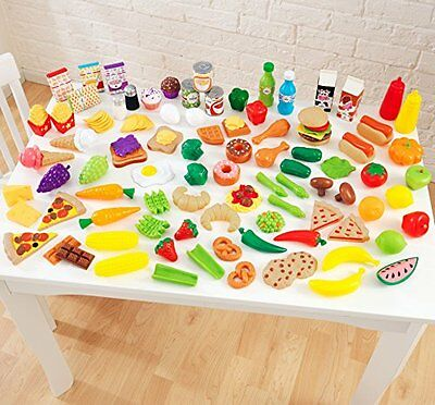 Play Kitchen Toy Kitchen Kid Play Food Set 115 Pieces Breakfast Lunch And Dinner