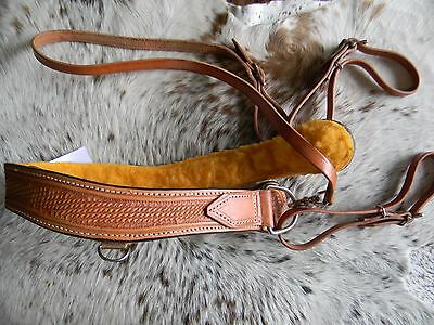 One Piece Western Horse Basketweave Breast Collar Wither Strap Fleece Lined
