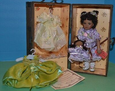 "Lizzie'sTrunk 9""Porcelain Dark Skin Doll w/ WOODEN TRUNK 3 Outfits & Accessories"