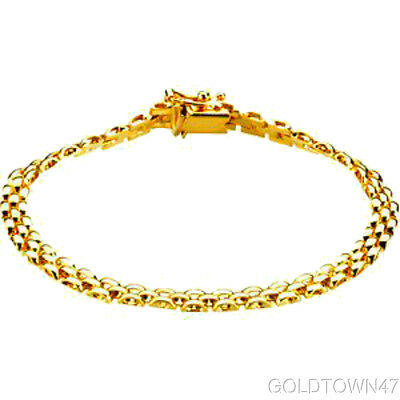14K Yellow Gold Shiny 3 Row Panther Chain Link Set with Box Catch Clasp