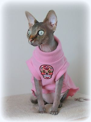 adult SKULL fleece coat Sphynx cat clothes Katzenbekleidung,  pet clothes, kot
