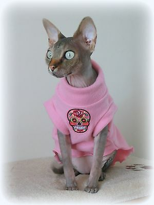 small adult SKULL fleece coat Sphynx cat clothes Katzenbekleidung,  pet clothes