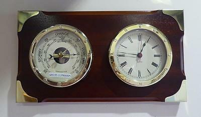 Marine Clock & Barometer Wood Brass Nautical Maritime Quartz Ex-display REDUCED!