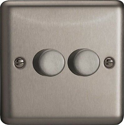 HS2 Varilight V-Dim Series,2-Gang 1 Way 2x250 Watt Dimmer, Brushed Steel