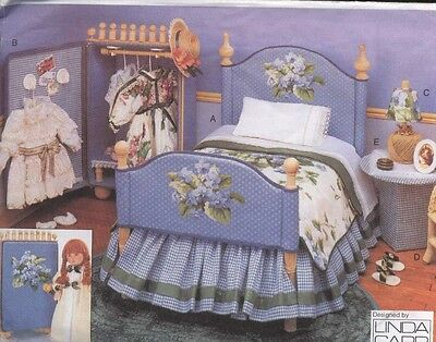 """18""""american/gotz Doll Bedroom Furniture&linen/pillow Table&lamp&picture Pattern"""