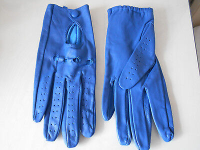 Stunning Blue Soft Leather Driving Gloves - Lady Gaga Style - New!!!
