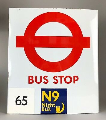 -Vintage- Enamel White Bus Stop Flag -Original London Transport Automobilia Sign