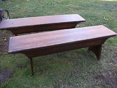 Antique benches, pair, solid wood, rustic furniture, countryside dining, oak