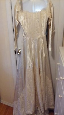 Vintage Cream Wedding Dress W/train Satin Drop Waist Handmade #81
